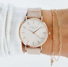 ROSEFIELD WATCH WITH ROSEGOLD DETAILS AND A GREY LEATHER STRAP. https://timetogetone.myshopify.com/