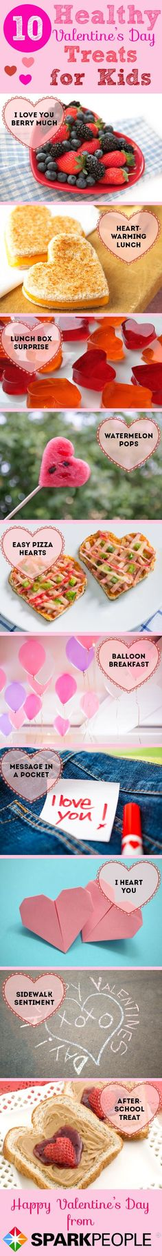Kid-Friendly Valentine's Day Surprises--that are healthy! Click for recipes/instructions. | via @SparkPeople #food #fun