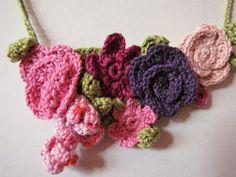 Crochet necklace - Garden of Eden - Assortment of crochet flowers, crochet roses - free form crochet. $23.00, via Etsy.