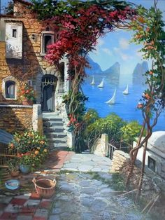 Fantasy Landscape, Landscape Art, Landscape Paintings, Beautiful Paintings, Beautiful Landscapes, Beautiful Gardens, Image Nature, Painting Inspiration, Home Art