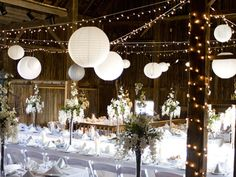 Love the twinkle lights & Japanese lanters - Reception at Wildwood Farms