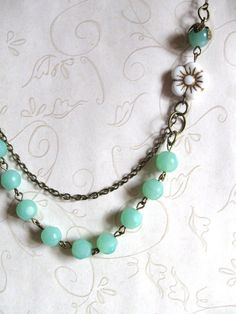 Mint Green Necklace  shabby chic jewelry  white by botanicalbird, $28.00
