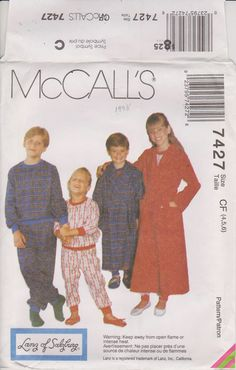McCalls 7427 Sewing Pattern  Children's Pajamas by n2Imaginations (Craft Supplies & Tools, Patterns & Tutorials, Sewing & Needlecraft, Sewing, robe, bath, top, pull, on, up, pants, pajamas, pjs, tie, belt, elastic, waist)