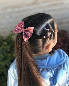Today I did a center French braid with side elastics into a ponytail for this we.Today I did a center French braid with side elastics into a ponytail for this we. Cute Toddler Hairstyles, Girls Hairdos, Cute Little Girl Hairstyles, Cute Girls Hairstyles, Pretty Hairstyles, Toddler Hair Dos, Kids Braided Hairstyles, Trendy Haircuts, Princess Hairstyles