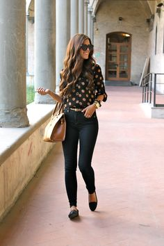 (Loafer love) I wore a pair of high-waisted jeans, polka dots and loafers for a casual day of class.