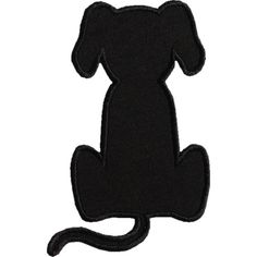 Dog Applique Designs | Sitting Dog Silhouette Applique Design More