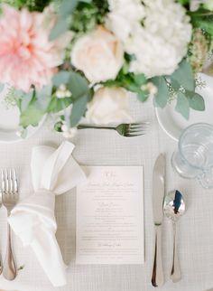 Elegant wedding dinner menu with gold foil and custom monogram by Poeme. Blush Wedding Stationery, Classic Wedding Invitations, Wedding Dinner Menu, Bridal Dress Design, Wood Flowers, Flower Invitation, Wedding Programs, Silk Ribbon, Gold Foil