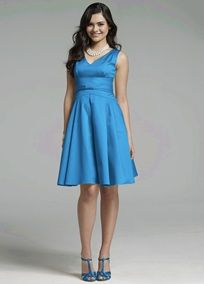 Sleeveless V-neck bodice provides just the right coverage in this lovely dress designed in comfortable, wear-again cotton sateen. The tapered waist is accented with a knot detail in front. Short A-line skirt has perfectly placed pleats that flatter every shape and size. Available in a variety of colors to suit any bridal party or special event. Fully lined. Back zip. Made in USA from imported cotton. Hand wash.