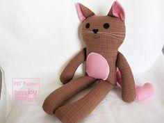 Gato muñeca patrón de costura & Tutorial - PDF imprimibles - kitty, chica…
