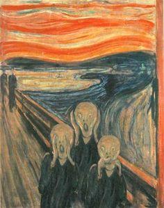 """three monkeys art   Edvard Munch """"the Scream"""" in two """"3 monkey"""" variations"""