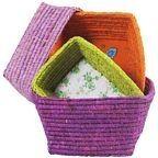 Set of 4 raffia baskets