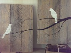 This beautiful set of pictures shows two birds sitting on a branch. Each piece measures 11 wide by 16 high. Includes hangers on the back so they