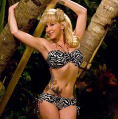 zebra print rockabilly swimsuit