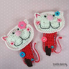 Crochet kitty appliqué pattern DIY от VendulkaM на Etsy