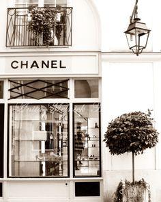 Coco Chanel Boutique- 8 x 10- Fine Art Photograph - Portrait Style- Sepia -Fashion Art-Preppy Dorm-Vintage-Dreamy-Paris Nursery-Parisian