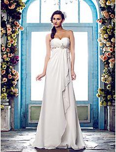 Lanting Bride® Trapèze Petites Tailles / Grandes Tailles Robe de Mariage - Classique & Intemporel Traîne Brosse Coeur Mousseline de soie