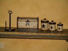 Handpainted Primitive Star Kitchen Decor Set By Primitivestardecor 199 99