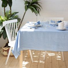 Blue washed linen tablecloth and napkins