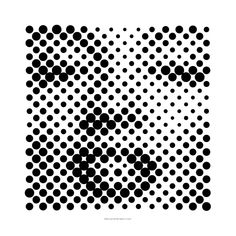 Halftone Calendar by Casey Klebba The scale of the dot starts taking over the image.  Depending on how far away you are from the image dictates whether you see the dots or the face