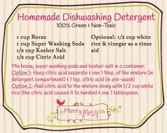 Homemade Dishwashing Detergent – Cheap and Green with a Free Printable Label