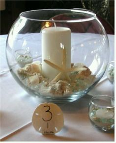 Beach theme bowl- like the sand dollar for a place card holder