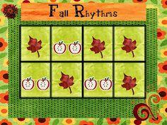 O For Tuna Orff: Fall Rhythms Activity for Kindergarten/First Grade Preschool Music Activities, Kindergarten Music, Kindergarten Lesson Plans, Teaching Music, Movement Activities, Class Activities, Music Lesson Plans, Music Lessons, Halloween Music