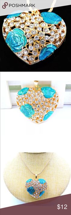 Heat necklace with blue roses Heat necklace with blue roses. Jewelry Necklaces