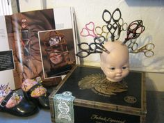 Doll head scissor display inspired by the book Mixed-Media Doll Making With all the great comments being left in Tuesday's double giveaway post I have scissors on the brain. The inspiration for the Altered Art, Altered Books, Book Crafts, Craft Books, Wow Art, Mixed Media Tutorials, Creepy Dolls, Doll Parts, Assemblage Art