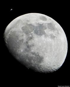 The International Space Station next to the moon