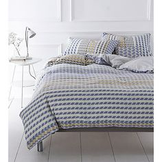 Buy Margo Selby for John Lewis Dogstar Bedding, Blue/Natural Dream Bedroom, Home Bedroom, Bedroom Decor, Bedroom Ideas, Master Bedroom, Blue Bedding, Linen Bedding, Bed Linen, Comforter