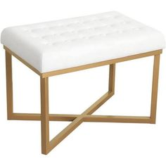 Google Express - HomePop Rectangular Ottoman with White Velvet Tufted Cushion and Gold Metal X Base