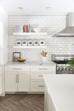 How to Style Floating Kitchen Shelves in the Kitchen | Styled by Room for Tuesday featured on The TomKat Studio