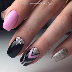 Gel Nail Designs You Should Try Out – Your Beautiful Nails Grey Gel Nails, Pink Black Nails, Pink Nail Art, Black Nail Designs, Simple Nail Art Designs, Trendy Nail Art, Easy Nail Art, Fabulous Nails, Gorgeous Nails