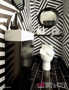 Loving this funky bathroom!
