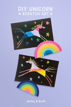 Easy DIY unicorn scratch art - a super fun kids craft and simple art project (free template included)! Easy Kids Art Projects, Easy Art For Kids, Easy Crafts For Kids, Easy Diy Crafts, Fall Crafts, Summer Crafts, Kids Fun, Diy Unicorn, Unicorn Crafts
