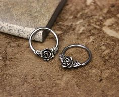 Daith Piercing,Nipple Ring Hoop,Conch Hoop,Helix Hoop,Cartilage Hoop,Septum Ring,Rose Flower 316L Surgical Steel CBR 14G 16G, Sold Single by Purityjewel on Etsy https://www.etsy.com/listing/215314138/daith-piercingnipple-ring-hoopconch
