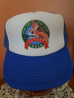 af64d365978 Vtg South Pacific Lager Hat New Guinea Beer Trucker Snapback Foam Mesh 70s  80s  MeshTruckerSnapback