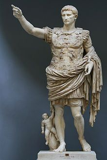 Augustus (Latin: Imperator Caesar Divi F. Augustus, September 23, 63 BC – August 19, 14 AD) is the founder of the Roman Empire and its first Emperor, ruling from 27 BC until his death in 14 AD.