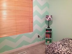 seafoam guest bedroom (APT) Chevron wall paint