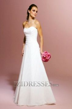 A-Line Sweetheart Strapless Chiffon A-Line Wedding Dresses