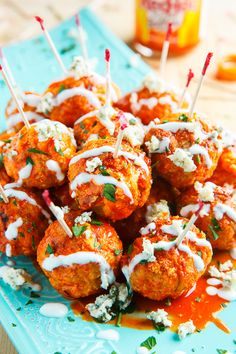 Jalapeno Popper Stuffed Buffalo Chicken Meatballs