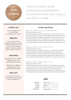 Resumes Templates For Word One Page Resume Template Word  Resume Cover Letter Templates  Cv .
