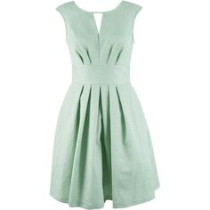 Almari V-Back Jacquard Dress (135 CAD) ❤ liked on Polyvore featuring dresses, green, women, green pleated dress, zip dress, pleated dress, fit and flare dress y fit & flare dress