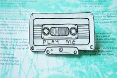 'Hail the cassette tape!' music tape brooch - shrink plastic £3.40