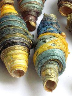 8 mixta textil arte fibra granos hechos a mano con oro y