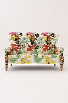 Tufted floral upholstery. <3!  Battersea Sofette, Bloom from Anthropologie