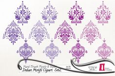 SALE 30% OFF Hand Drawn Indian Clip art, Digital Clip art, Purple and Violet -  instant download  - 300dpi, jpg, PNG, Indian Motifs on Etsy, $2.80