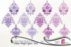 SALE 30% OFF Hand Drawn Indian Clip art, Digital Clip art, Purple and Violet -  instant download  - 300dpi, jpg, PNG, Indian Motifs on Etsy, $2.80