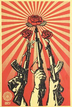 SHEPARD FAIREY - GUNS AND ROSES - KUNZT.GALLERY http://www.widewalls.ch/artwork/shepard-fairey/guns-and-roses/