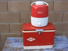 Vintage Coleman Red Clad Ice Chest, Cooler, Picnic Chest and Water Jug, Matching Set, 1970s-1980s Mid Century, Camping, Picnic, Barbecue by havetohaveit on Etsy https://www.etsy.com/listing/245971081/vintage-coleman-red-clad-ice-chest